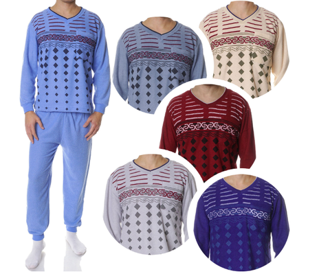 Collectie heren pyjama's. Badstof. Bordeaux, gestreept, beige, grijs, donker grijs, donkerblauw, zeeblauw