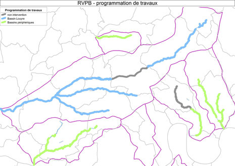 Travaux 2014 en bleu - prochaines tranches de travaux en vert
