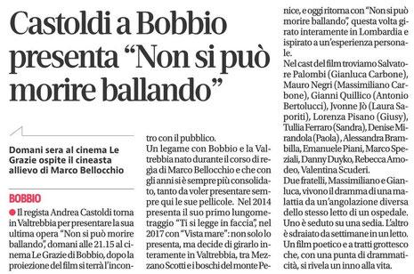 quotidiano Libertà Andrea Castoldi al cinema Le Grazie di Bobbio