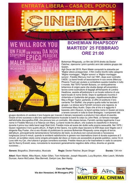 BOHEMIAN RHAPSODY   25 febbraio ore 21:00   Rivergaro (PC) Casa del Popolo