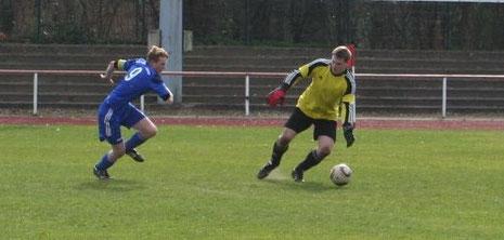 Kapitän Jan Hübner beim Erzielen des 2:0.