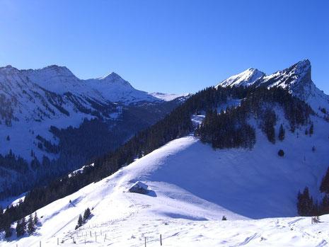 Wissguber, Fürstein, Schafmatt, Torflue (ganz rechts)  -  von der Alp Ober-Looegg