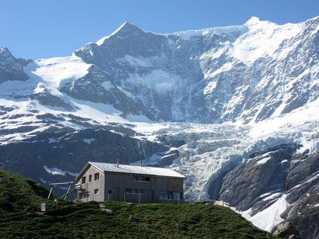 Berghaus Bäregg mit dem markanten Ochs (3'895m) + Gross Fiescherhorn (4'048m)