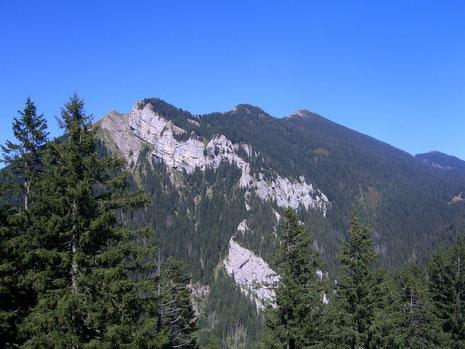 Der Risetenstock und die Aufstiegslinie von der Tossenalp aus fotografiert