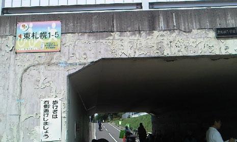 札幌国際芸術祭2014!白石サイクリングロード モザイクタイルアートin東札幌1-4 暗いトンネルがあかるい空間に♪