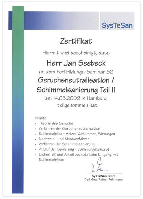 Systesan Zertifikat Schimmelsanierung & Geruchsneutralisation 2