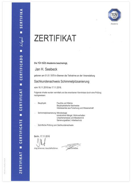 Tüv Zertifikat Schimmelpilzsanierung