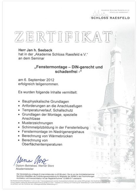 Zertifikat Sloss Raesfeld DIN Fenstermontage