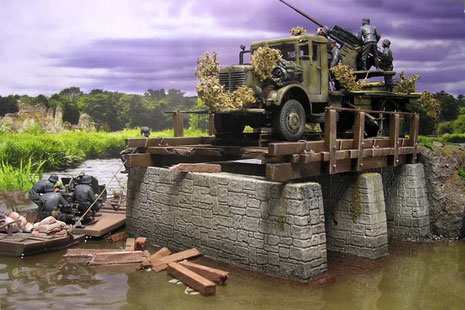Diese Szene kann sich an einem der Seine-Übergänge beim Rückzug im Westen 1944 abgespielt haben.