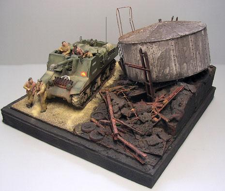 Das Diorama teilt sich farblich in zwei Hälften.