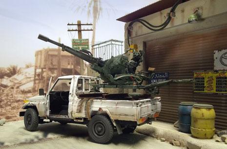 Hier wartet das Gefährt auf seine Besatzung, um in die Kämpfe gegen die Regierungstruppen einzugreifen.