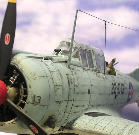 Visiereinrichtung des Piloten in der Frontscheibe.