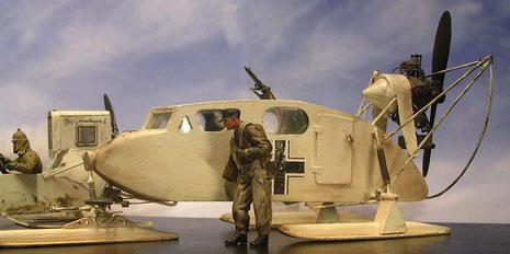 Aerosan Kabinenschlitten als deutsches Beutefahrzeug.