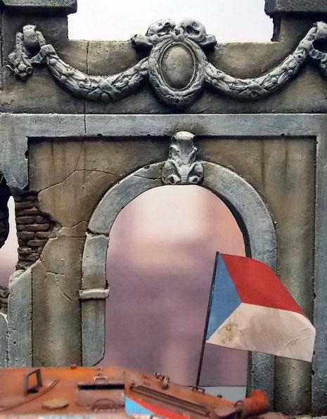 Der Dioramahintergrund zitiert viele Ornamente der klassischen Bauten Prags.