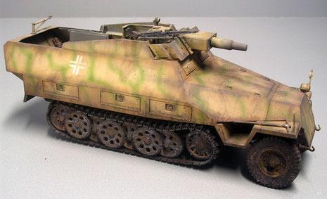 Der Aufbau ist ähnlich wie beider Ausf. C, jedoch verfügt die Kanone nun über Panzerschutz seitlich vom Geschütz,