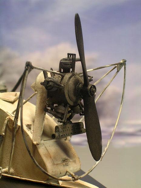 Flugmotor auf dem Heck mit Schutzgestänge.
