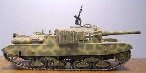 Markant das nun deutlich längere Fahrgestell und die lange 105mm Kanone.