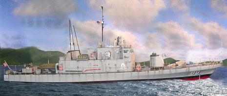 """Das Ergebnis sieht dann so aus- die USS Crockett""""schwimmt""""!"""