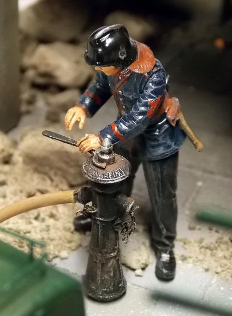 Der Hydrant vorbereitet.