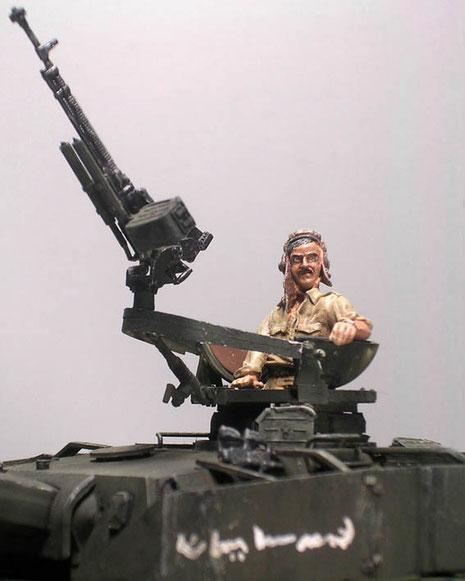 Syrischer Panzerkommandant an schwerem FlaMG.
