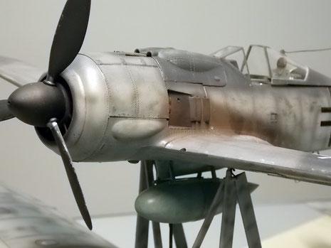Auch die Focke-Wulf ist als Reparaturrückläufer schon von Einsatzspuren gezeichnet.