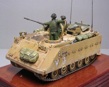 Die Zusatzpanzerung ist gelochtes Aluminiumblech und verändert das Aussehen des M113 dramatisch.