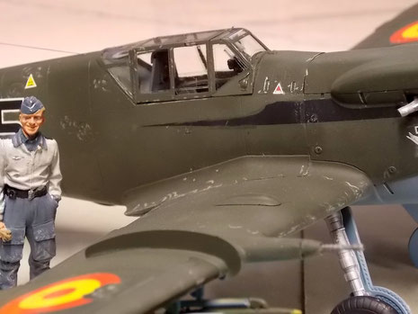 Klassische Me-109 Haube-beachte die Panzerplatte hinter dem Pilotensitz und die Abriebspuren rund um den Einstieg.