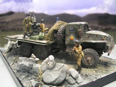 Die karge afghanische Feuerstellung bietet nur wenig Deckung