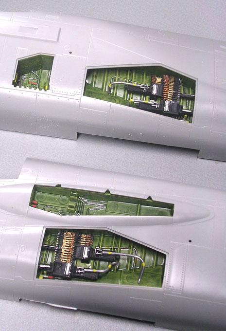 Der Einbau der Waffenschächte und der Öffnungen für die Luftbetankungssonde erfolgt aufgrund guter Passform problemlos.