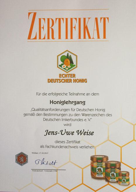 Bild Zertifikat Honiglehrgang Fachkundenachweis