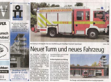 8.Nov. 2009: Feuerwehrturm Sigmaringen