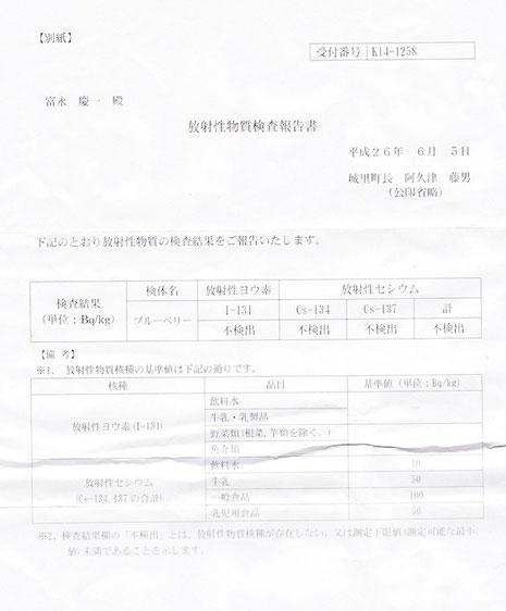 2014.6.5 放射線物質検査 不検出