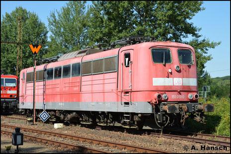 151 051-0 ist seit einiger Zeit im SEM Chemnitz abgestellt. Am 23. August 2019 konnte ich die Lok dort fotografieren
