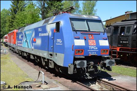 """152 137-6 """"Albatros"""" ist am 28. Mai 2017 zum Bw-Fest in Schwarzenberg zu Gast"""