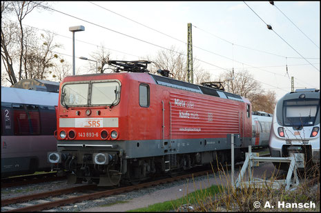 Inzwischen für die Salzland Rail Service GmbH im Einsatz, treffe ich die Lok am 30. März 2019 in Dessau Hbf. an