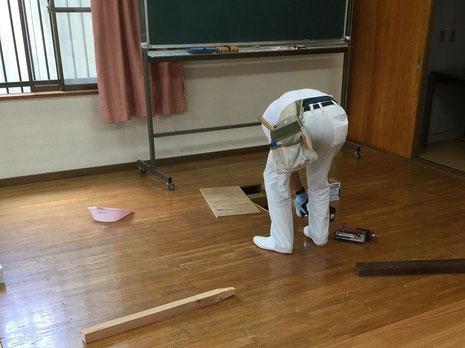 フロア張り替え(施工中)床鳴り箇所補強