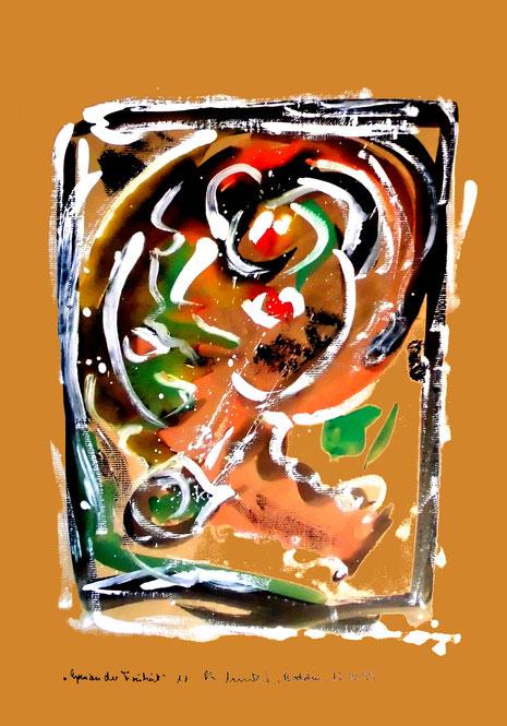 """""""Grenzen der Freiheit"""" - Werkverzeichnis 1.922 - Boddin, 13.02.1999 - Diverse Farben auf grünbraunem Papier"""