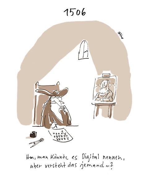 Cartoon von Mock zum 500. Geburtstag von Leonardo Da Vinci