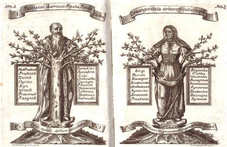 """Ilustracje z dzieła """"Heraldica to iest osada kleynotow rycerskich"""" Józefa Jabłonowskiego z 1742 roku"""