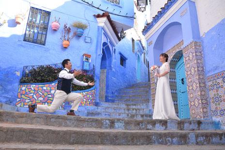 モロッコ/青い風景のシャウエンでphotowedding撮影