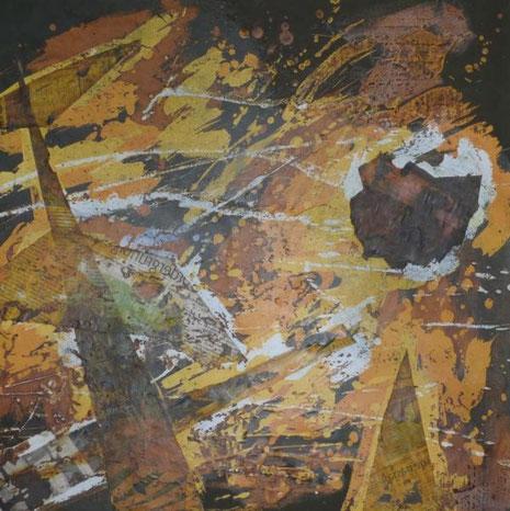 ohne Titel: 50 x 50 cm. Wachsreserviertechnik, Acrylmalerei, Collage mit Zeitung. XL-Leinwand. 2013