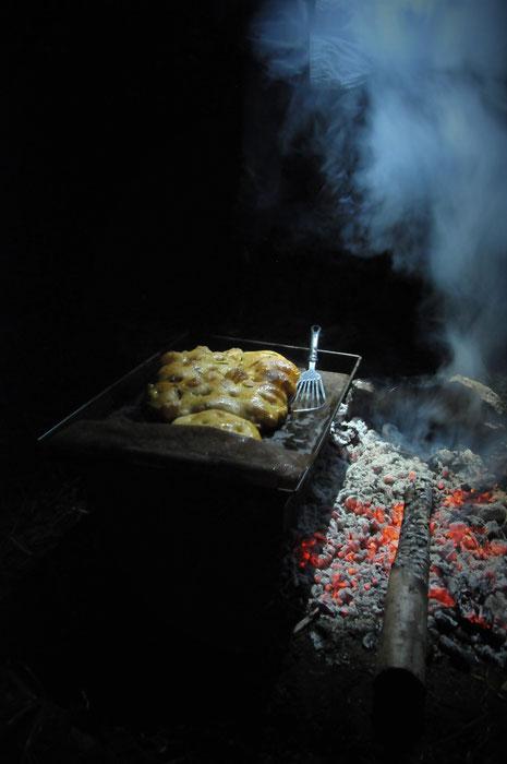 すどう農園の焚火キャンプで焼いたパン(講座とは別の日です)