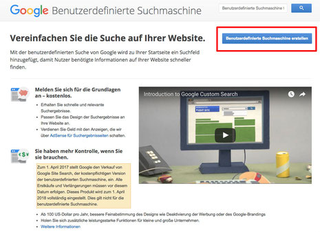 Bild: Google Customer Search mit Jimdo