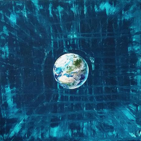 Collage: Ich bin die Mitte meiner Welt, Erdkugel, Welt-Raum