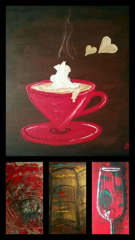 Collage aus: Cafe mit Sahne, Die Schriften, Leben im Glas, Die Katakombe