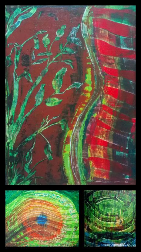 Collage aus: Wachstum, Der Blick, Ringe (Spiegelung)