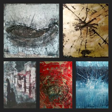 Collage aus: Das Boot (Die Wiege), Zwischen den Welten, Abkehr, Die Katakombe, Einschlag