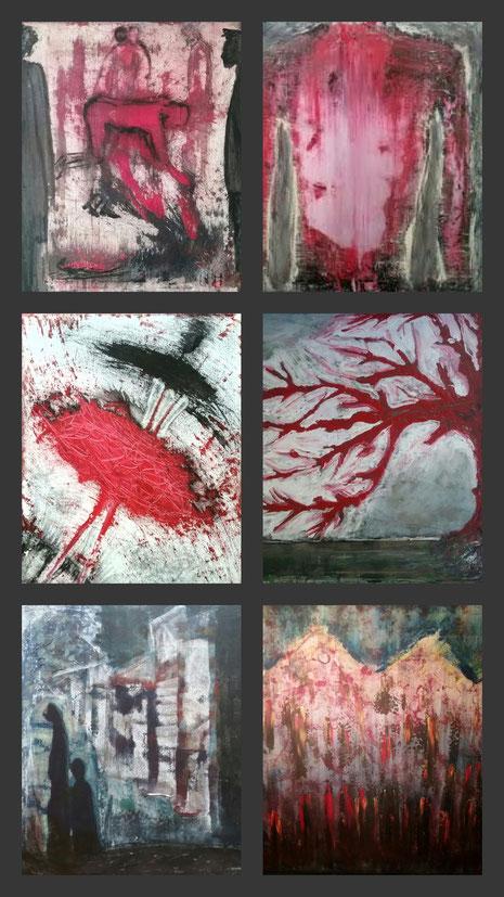 """Nicole Kraebber Arts Online Exhibition, Kunst und Gewalt, Arts and Violence, Law and Humanity, Collage """"Blutrot-Weinrot""""aus: Der Weihnachtsmarkt,  Abkehr, Die Tänzerin, Der Winterbaum, It was not my decision, Recht und Gerechtigkeit"""