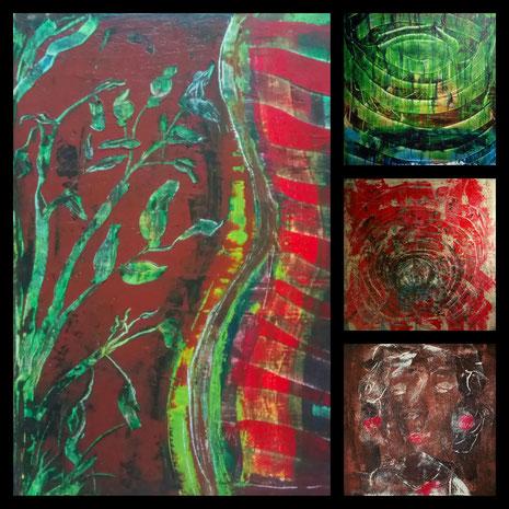 Collage aus: Wachstum; Ringe (Spiegelung); Die Katakombe; Trauer, Schmerz und Leidenschaft