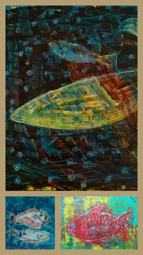 Collage aus: Fische am Grund, In der Tiefe, Der rote Fisch
